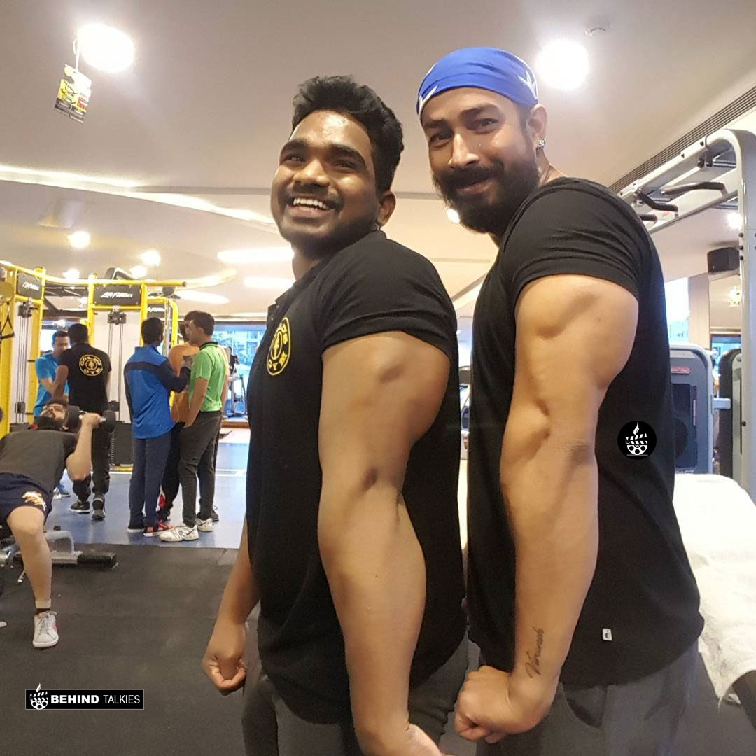 Actor Amit with his gym trainer