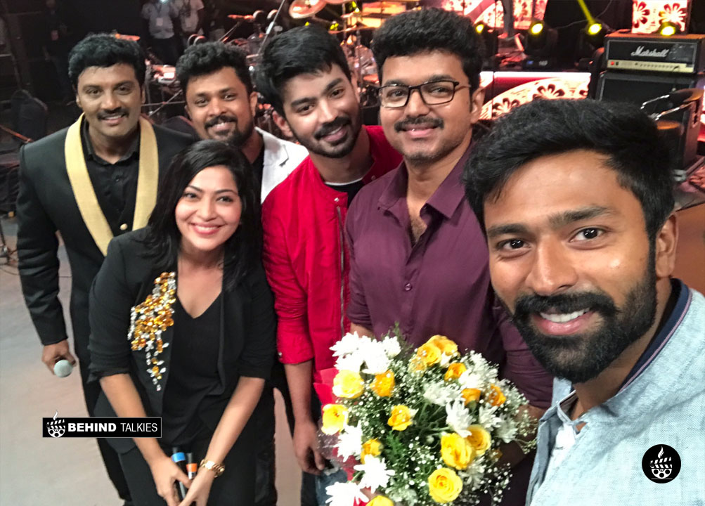 Mahat with Ilayathalapathy Vijay in mersal audio launch