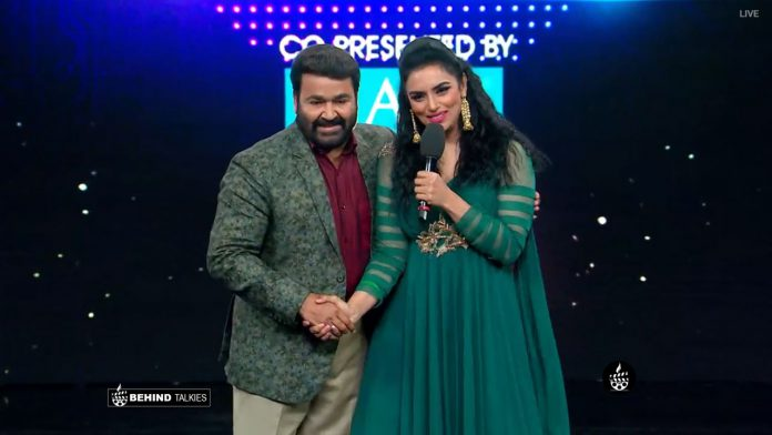 Shwetha Menon with Mohanlal in Bigg Boss